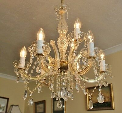 A French Antique Marie Therese Style Glass Crystal 9 Arm Chandelier