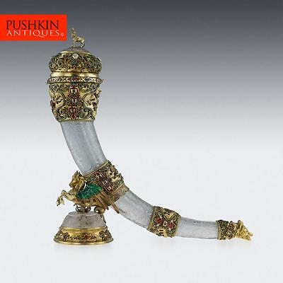ANTIQUE 19thC AUSTRIAN SILVER GILT, ROCK CRYSTAL & ENAMEL HUNTING HORN c.1890