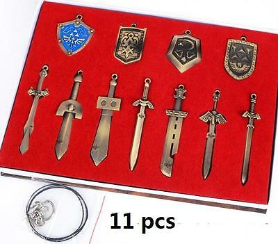 12 Pcs The Legend of Zelda Link Weapons Shield Necklace Keychain Bronze Set BoxS