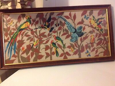 Large Handmade Wool Embroidered Birds Of Paradise Picture Framed Retro Vintage