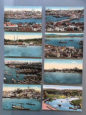 Constantinople Turkey Colored Eight Old Postcards Not Used