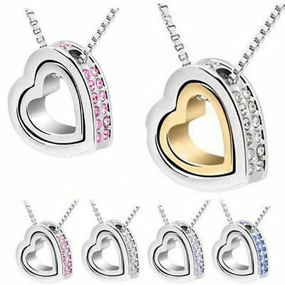 Womens Crystal Chain Pendant Jewelry Fashion Heart Necklace Silver Plated