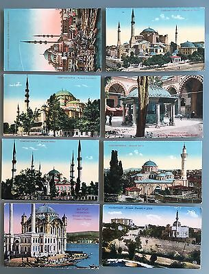 Mosques Constantinople Turkey Colored Eight Old Postcards Not Used