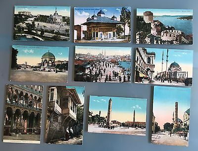 Istanbul Constantinople Turkey Colored Ten Old Postcards Not Used
