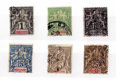 Indo China 1892 Collection of 6 Values SG6/13 Fine Used X6183