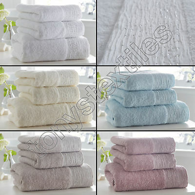 Portfolio - Luxury Hand Bath Towel from 100% Cotton with Diamante Glitter Border