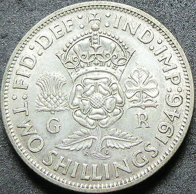 1946 Great Britain Silver Two Shilling Coin
