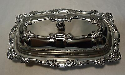 Vintage Chrome Butter Dish With Glass Insert Nice Design Clean.
