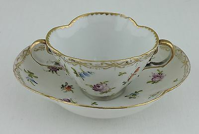 Antique Quatrefoil Soup Cup Saucer Hand Painted Flowers Gold Rim