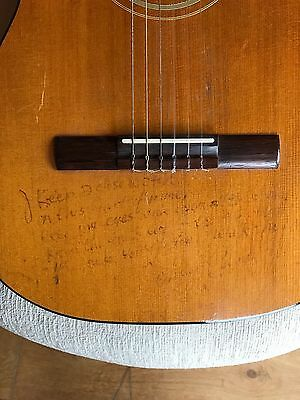 Johnny Cash Gibson C-1 classical guitar with handwritten lyrics on it by J Cash