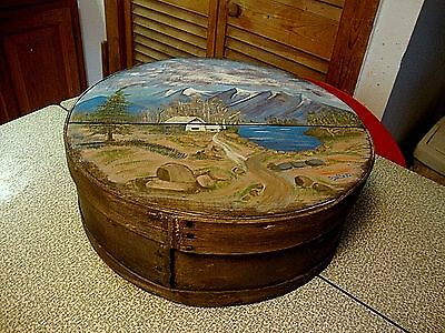 Vintage Hand Painted Wooden Round Cheese Box Home Decor Primitive Hat