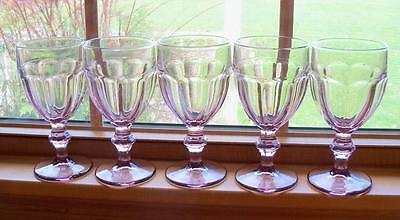 """5 Libbey Glass Duratuff Pink Water Goblet Footed Tumblers Gibraltar 6 3/4"""""""