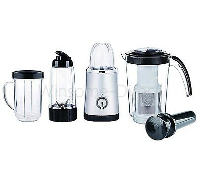 4 in 1 Multifunction Blender Grinder Mixer Juicer Smoothie Maker Jug Silver 220W