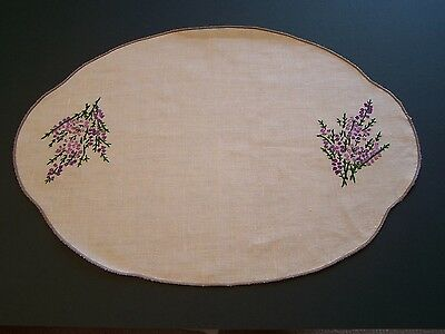 Vintage Irish Linen Oval Tray Cloth With Hand Embroidered Heather Sprays