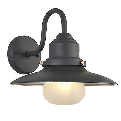 Endon Salcombe outdoor wall light IP44 40W Textured grey paint & frosted glass