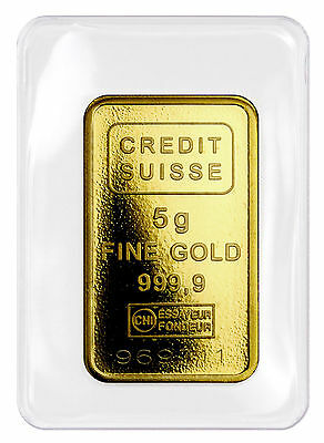Credit Suisse 5 Gram .9999 Gold Bar - New Sealed With Assay Certificate SKU27851