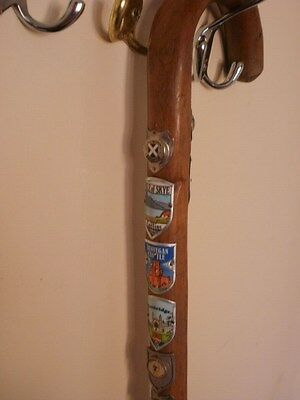 Vintage Wooden Walking Stick With  21 Metal Emblems!!