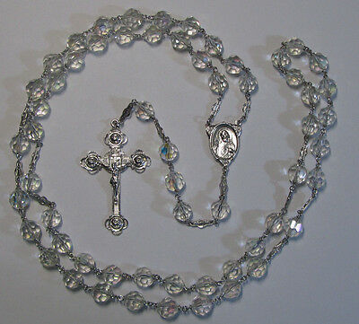 """† Rare Enormous Stunning Vintage Rose Sterling Capped Rosary 37 1/2 """" Necklace †"""