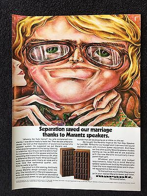 Vintage 1973 Original Print Ad MARANTZ SPEAKERS ~Separation Saved Our Marriage~