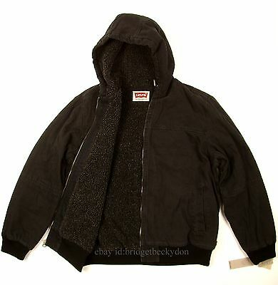Levis Bomber Jacket New SZ X-LARGE COLOR BLACK Heavy Duty Canvas / Sherpa Lined