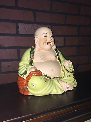 "9"" Tall Vintage Laughing Buddha Famille Rose Style Chinese Figure"