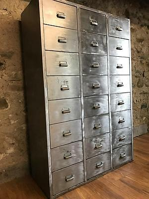 Stunning Vintage French Industrial Stripped Metal 24 Drawer Cabinet