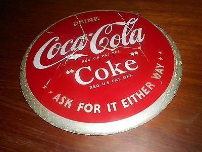 "Coca Cola 1940s Celluloid 9"" Round Button Sign"