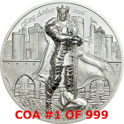 KING ARTHUR #1 LEGENDS OF CAMELOT 2016 2 oz Ultra High Relief Proof Silver Coin