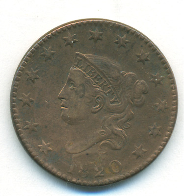 Very Fine Harshly Cleaned 1820 Large Cent Large Date