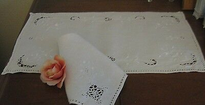 Vintage Italian Table Placemats &napkins Embroidered Linen Reticella Lace