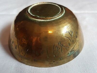 Small Antique Chinese  Etched Brass Bowl signed on bottom