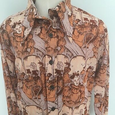 Vtg 70s Mens Psychedelic Glam Polyester Shirt M/L Monzini by Monticello