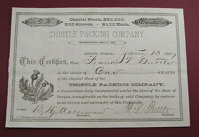 scarce! 1887 old SALMON CANNERY stock certificate THISTLE PACKING ASTORIA OREGON