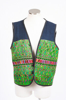 Vintage 90s Rainbow Embroidered Animal Retro Boho Hippie Gypsy Vest Top Womens L