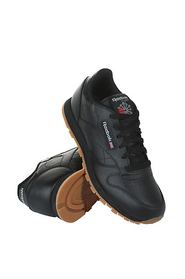 V69623 Grade School Classic Leather Reebok Sneakers Black Gum
