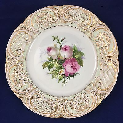 Antique 19c. KPM Floral Cabinet Plate Hand Painted Florals Lattice Border