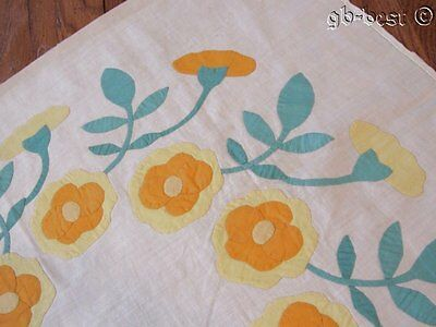 Marie Webster Fans! c 30s Wreath of Roses APPLIQUE Quilt Block LARGE yellow LAST