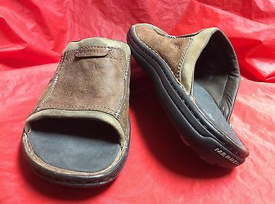 Merrell Mantra Mens Sz 12 M Brown Leather Sport Slides Sandals $75