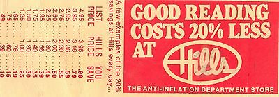 Vintage 60's Hill's Department Store Book Mark Good Reading Anti-Inflation Store