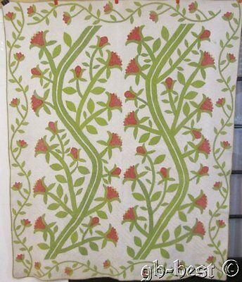 One for the books c 1840s JACK in BEAN Stalk Antique Applique QUILT Red Green