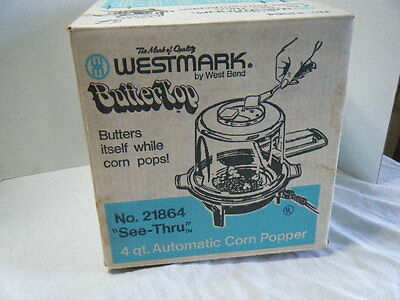 New Old Stock West Bend Butter Top Butter- Matic Electric Popcorn Popper UNUSED