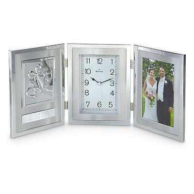 Bulova Remembrance Photo Clock Metal Frame 4 x 6 Quartz Brushed Aluminum NEW