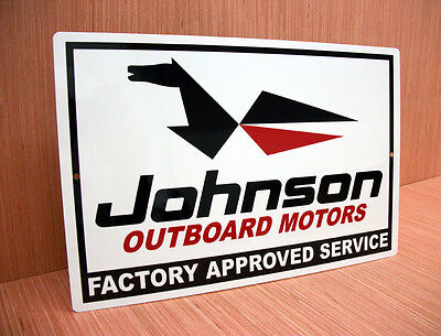 Johnson Outboard Motors Factory Approved Service Metal Sign