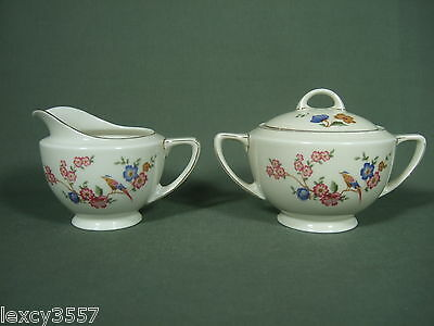 Vintage Tk Thuny  Sugar And Creamer With Gold Trim Made In Czechoslovakia