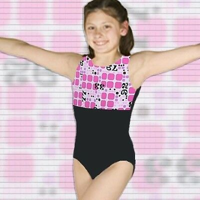 Gymnastics Leotard Girls sz CS Child 5 Black Pink white blocks numbers NEW ca