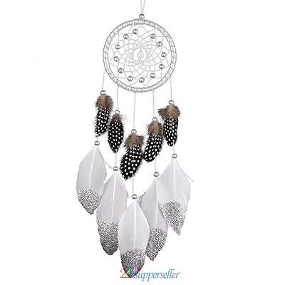 Silver Dream Catcher With Feather Wall Hanging Home Car Decoration Ornament Gift