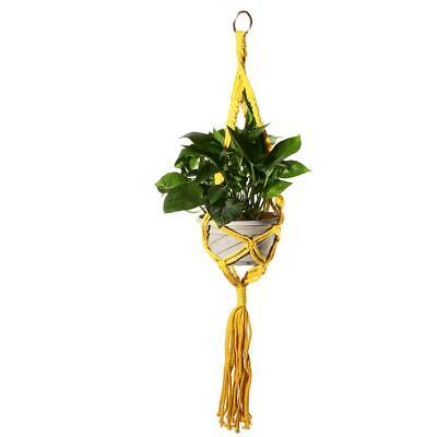 Yellow 90cm Cotton Rope Plant Macrame Hanger Flowerpot Holder Hanging Basket