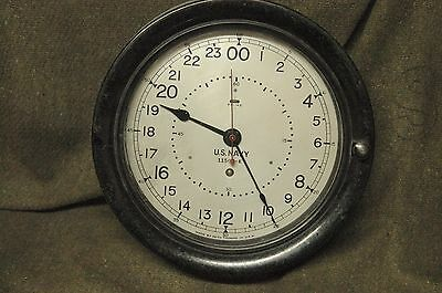WWII US NAVY Seth Thomas Ships Clock  May 1943 8.5' dial 24 hour clock