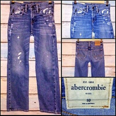 Abercrombie Kids Boys size 10 straight distressed faded jeans modern EUC