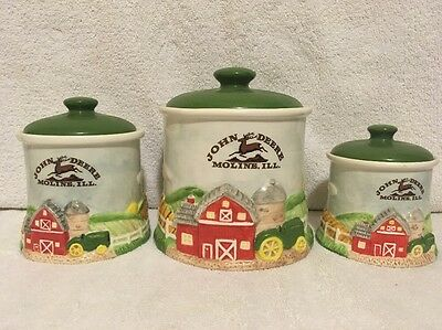 John Deere 3-Piece Canister Set Tractor Green Nothing Runs Like A Deere Rate Set